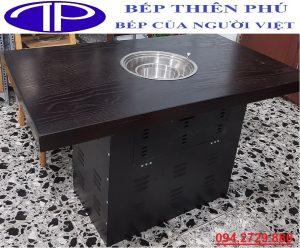 Hộp chân bàn bằng thép sơn tĩnh điện dày 1 ly có mặt bàn bằng gỗ