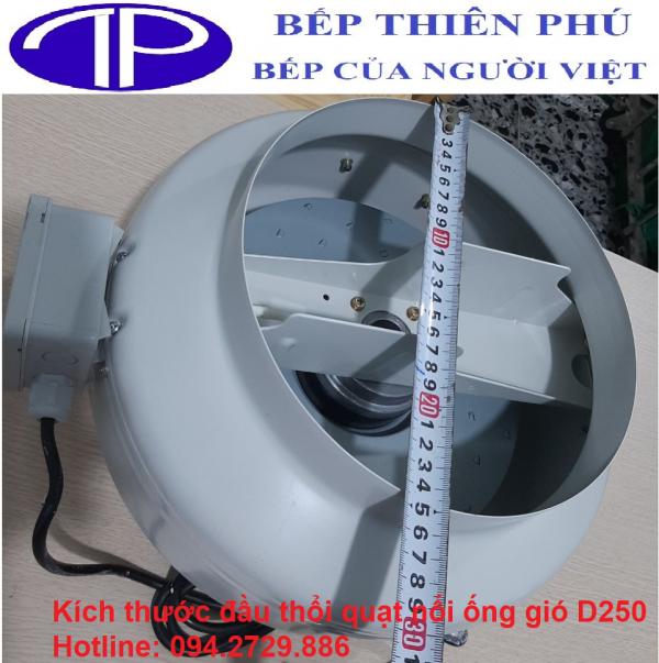 Kích thước đầu thổi của quạt nối ống gió D250 hút thải khói mùi