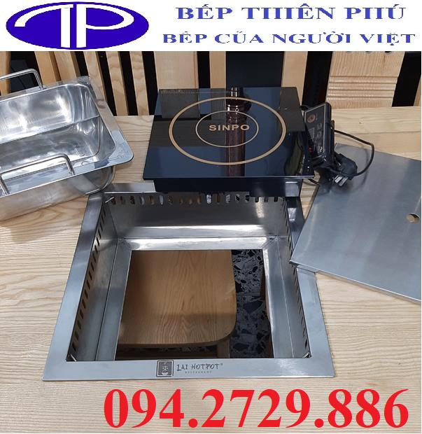 Bộ bếp lẩu 2 ngăn âm bàn 2000w có nắp đậy chuyên dùng nhà hàng giá tốt nhất thị trường